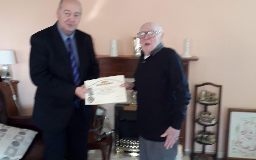50 Year Jewel presented to Billy Beattie 10th June 2019